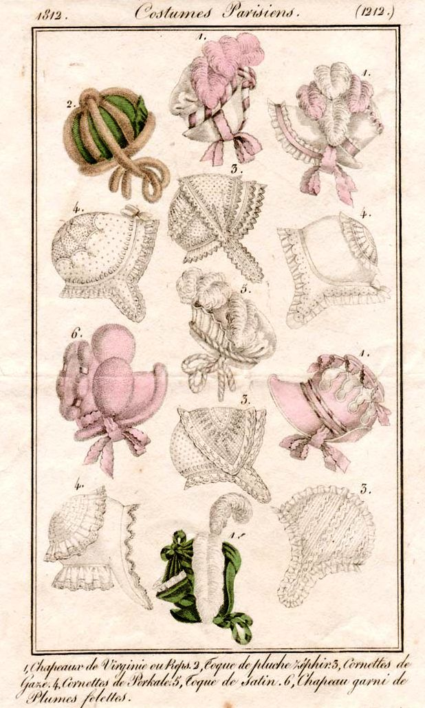 Bonnets, 1812 costume parisien