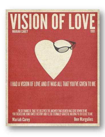 Vision of Love / Mariah Carey / Lyric / DIGITAL Minimalist  Typography Poster / Printable