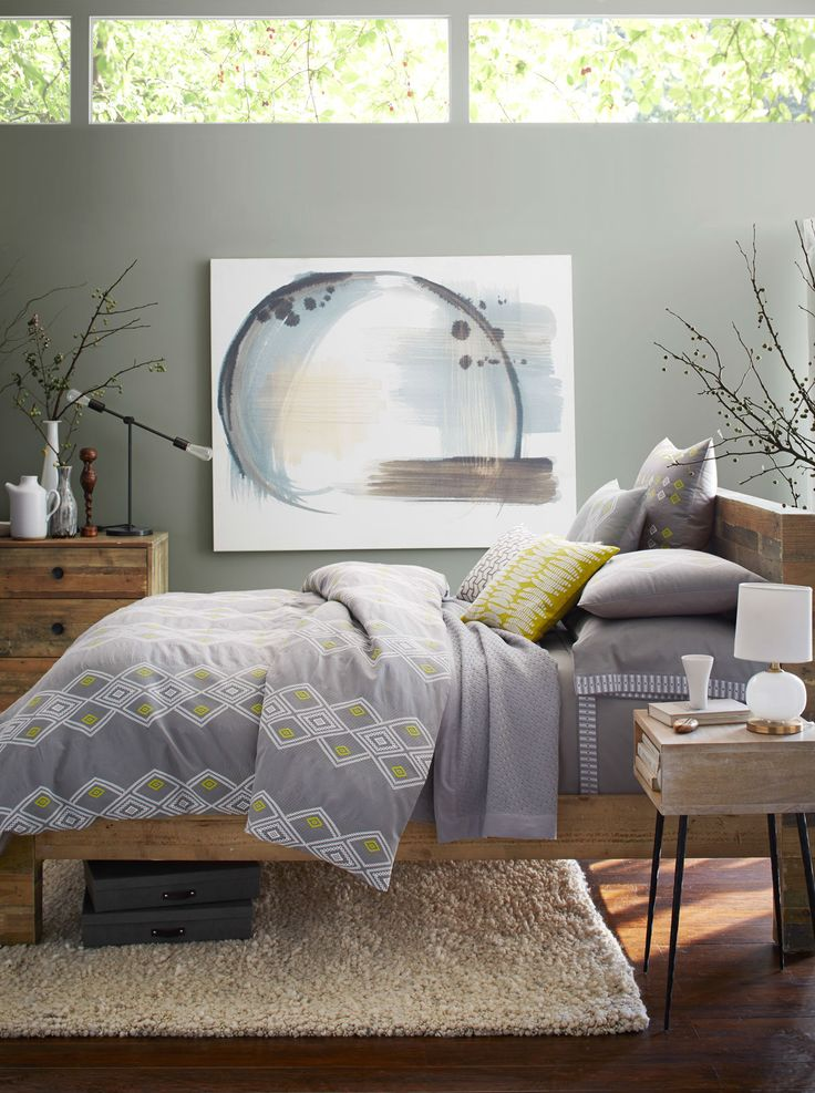 Natural style — at home in the bedroom. The Coyuchi + west elm bedding is made from 100% organic cotton and beautifully complements west elm's Emmerson Bedroom Furniture made from reclaimed wood.