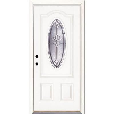 Feather River Doors 37.5 in. x 81.625 in. Medina Zinc 3/4 Oval Lite Unfinished Smooth Fiberglass Prehung Front Door-132191 - The Home Depot