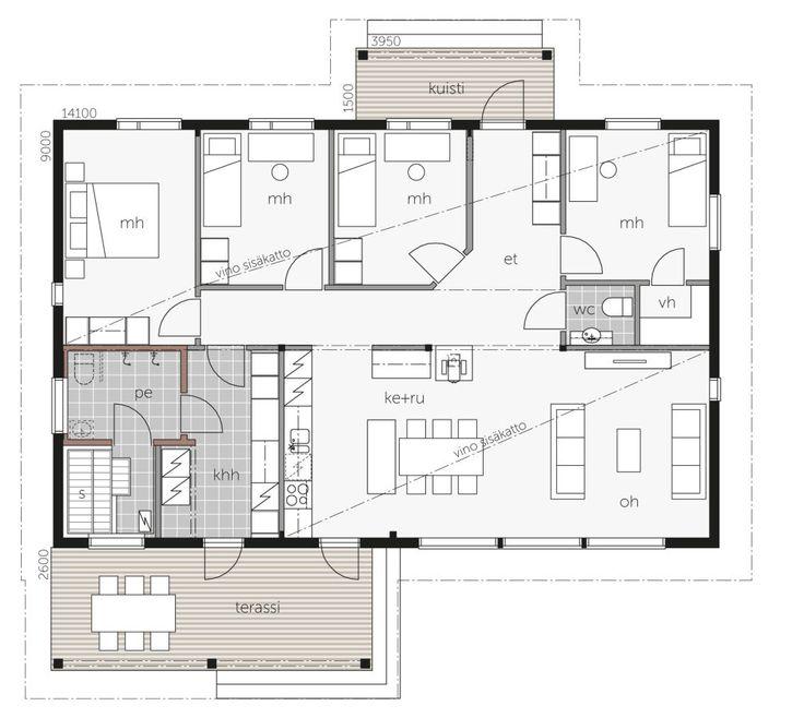 Valoisa ja ilmava, kahteen ilmansuuntaan aukeava olohuone-keittiö muodostaa Kontio Aavalahdessa kodin sydämen.