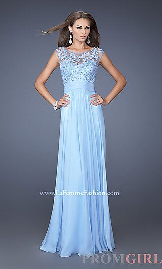 High Neck Long Blue Prom Dresses, La Femme Blue Gowns - PromGirl