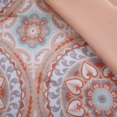 Bungalow Rose Almerton Comforter Set Size: California King, Color: Coral
