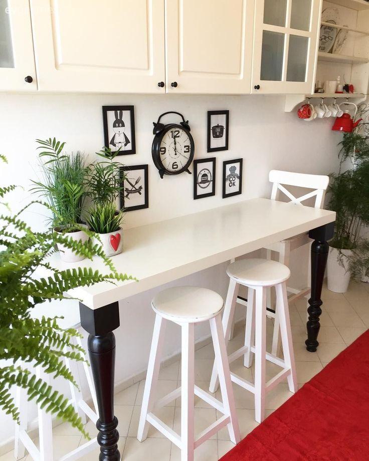 Barstühle, Küche, Küchenzubehör, Weiße Küche, Küche umgestalten   – Ev dekoru