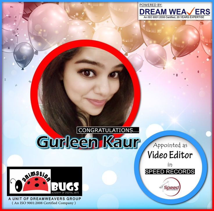 Congrats Gurleen Kaur: Student of @AnimationBugs Placed in Speed Records as a #Video_Editor Join us today for the Bright Career
