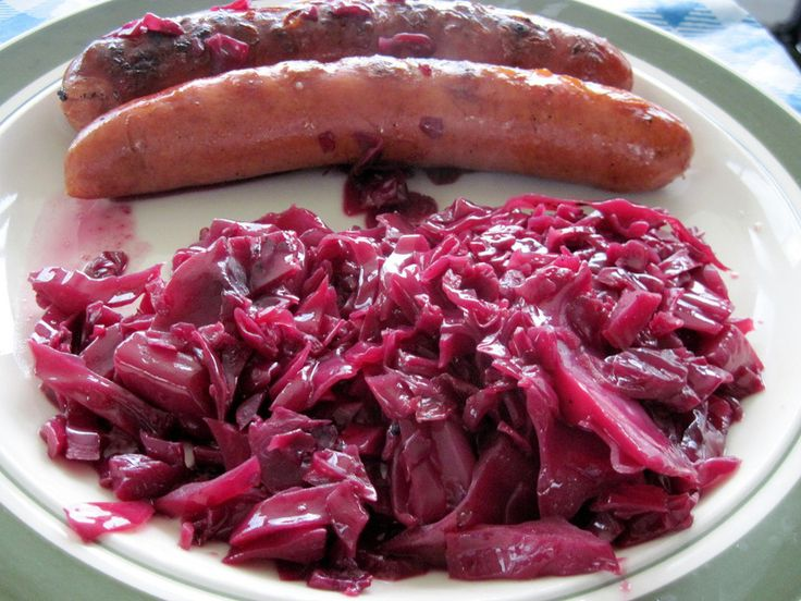 Blaukraut, also known as rotkraut or rotkohl, is a popular German side dish. It is most often served with pork, sausages, goose, duck or game and a side of mashed potatoes or potato dumplings. In England, the same dish is called Suffolk red cabbage. The vinegar in the recipe helps the cabbage to keep its bright purple color, as does the initial sautéing in hot fat before adding the liquid. 4 to 6 servings