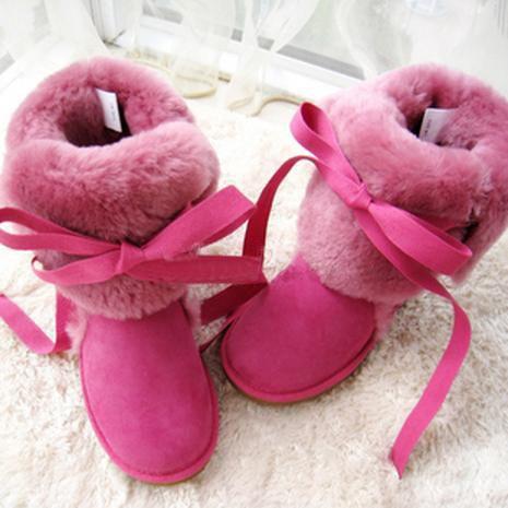 Elegent Warm Rose Lace-Up Bowknot Wool Flat Snow Boots