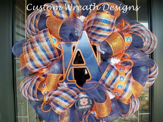 Deco Mesh Auburn Wreath by lilmaddydesigns on Etsy, $85.00