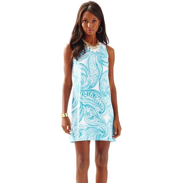 Lilly Pulitzer Sabrina Sleeveless Shift Dress ($178) ❤ liked on Polyvore featuring dresses, pattern dress, blue sleeveless dress, going out dresses, shift dress and blue pattern dress