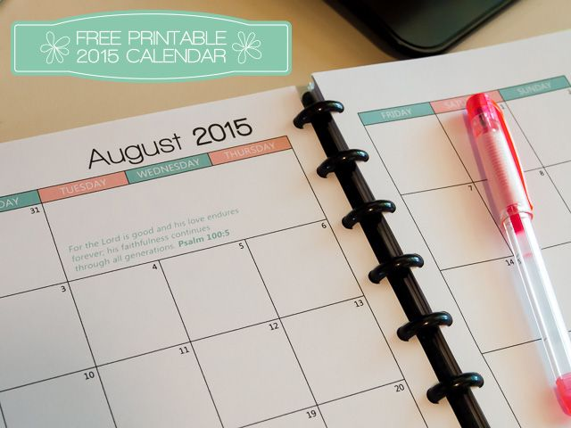 Free printable 2015 calendar for A5 Planner - with monthly scripture quotes