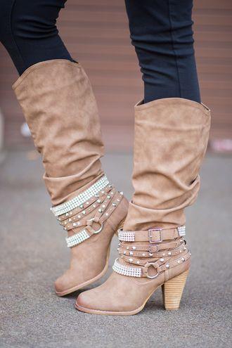 Nude Diamonds & Studs Boots