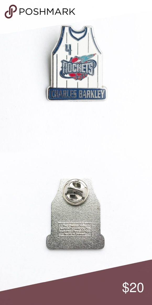 """'96 Charles Barkley Jersey Enamel Pin 🚀 1996 Charles Barkley Houston Rockets Jersey Enamel Pin  • true vintage  • 1  1/4"""" x 1"""" • colors: silver, white, blue, red, orange • tags: brooch, hat, lapel, jacket, bag, backpack, heart, team, lover, player, coach, basketball game, #4, NBA, national basketball league, power forward position, MVP, hall of fame • all of the pins I sell are vintage and may contain minor nicks, imperfections, or oxidation Vintage Accessories"""