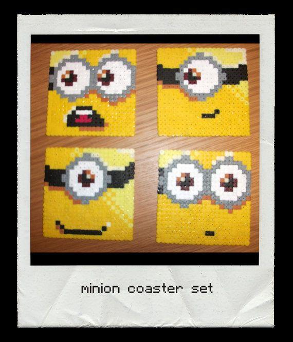 Despicable Me Minion perler bead coaster set  by geekybeady