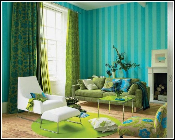 Charmant Getting The Refreshed Charm From Green Living Rooms MidCityEast. Turquoise  Red And Yellow CurtainsHome Design