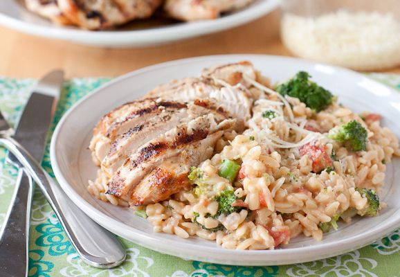 Herb Grilled Chicken with Creamy Broccoli Orzo by Smells Like Home, via Flickr