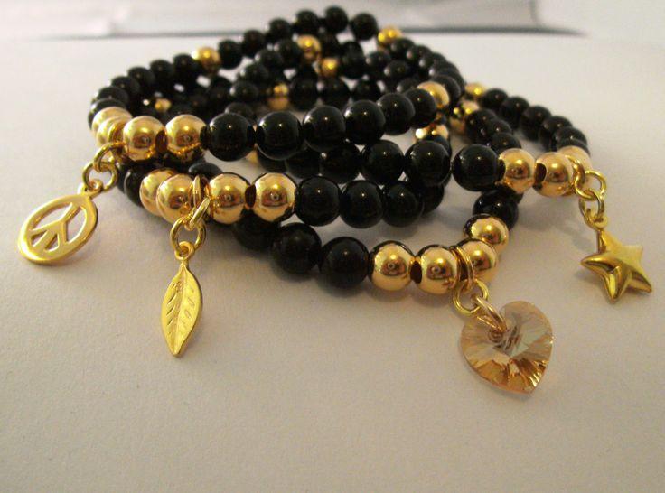 Swarovski & vermeil Gold Stacker Bracelets now live in website!!! Handmade by Hannah www.blueapplejewellery.com