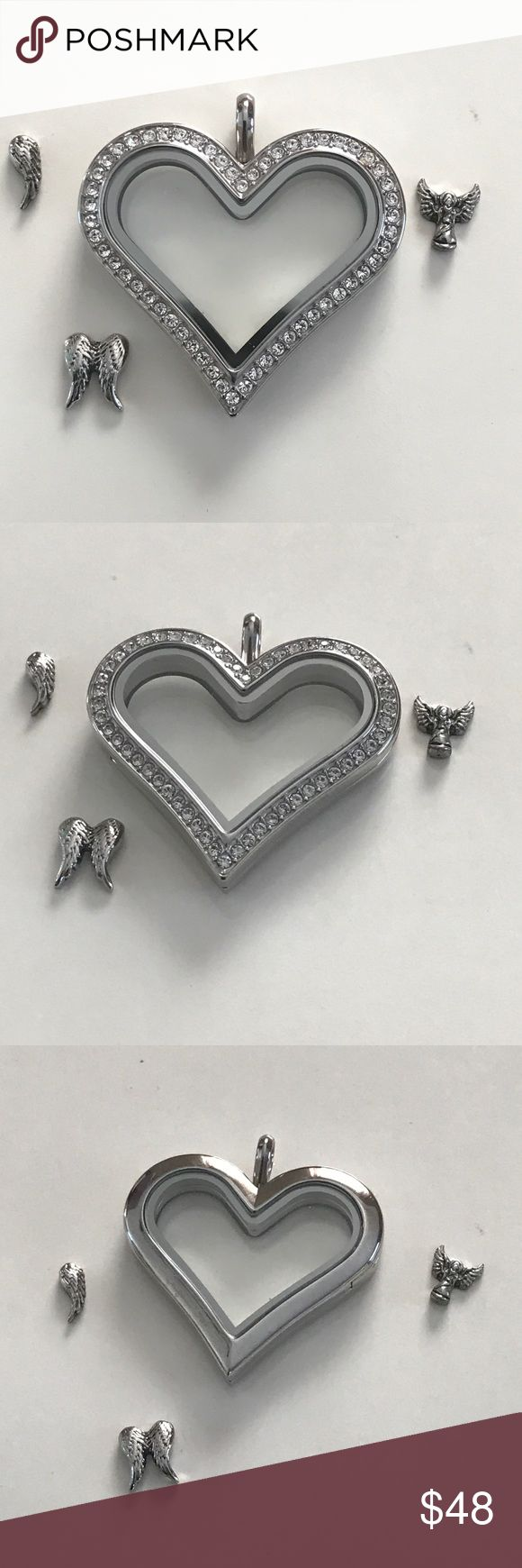 Origami Owl crystal heart charm holder with charms Beautiful Origami  crystal heart charm holder with charms never used it's a beautiful charm locket Origami Owl Jewelry Necklaces