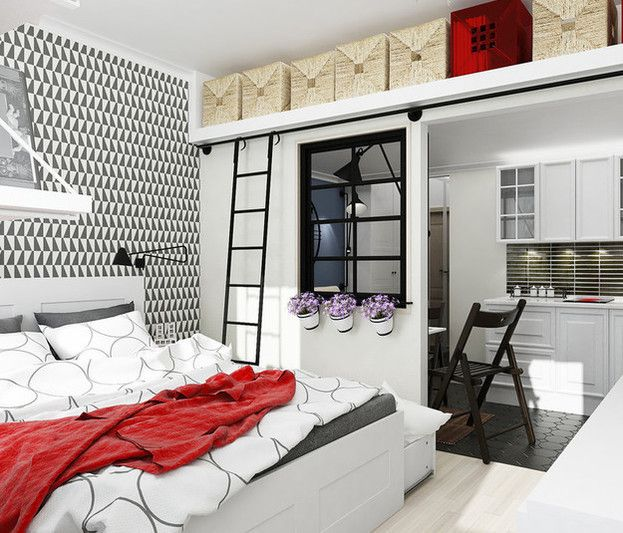 30+ небольших спален с компактным хранением