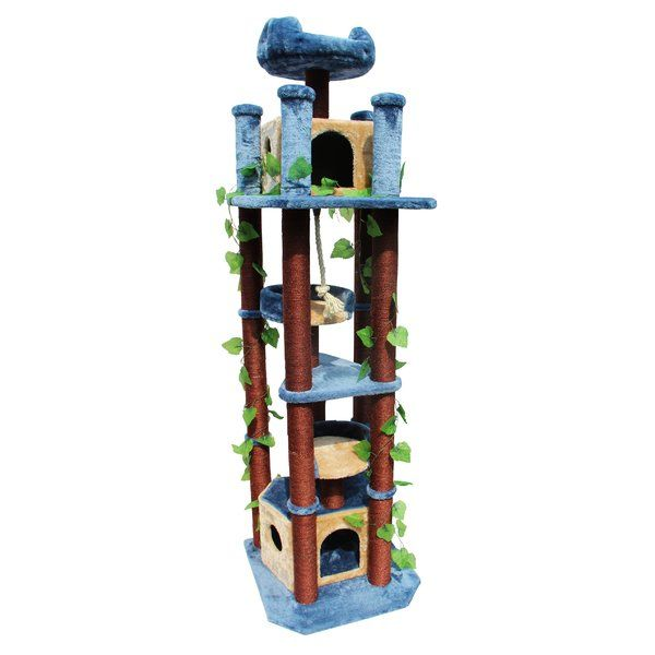 "The Kitty Mansions 75"" Honolulu Cat Tree gives your pet cats their own personal area to play around in with their favorite toys. It sports a modern style accentuated with a quirky color palette of blue, brown and green, which goes well with an eclectic decor. This cat tree blends especially well with decorative foliage and is ideally suited for use outdoor, such as in patios and decks. <br/><br/>Perfect for those who own multiple cats, this tall cat tree features a ..."