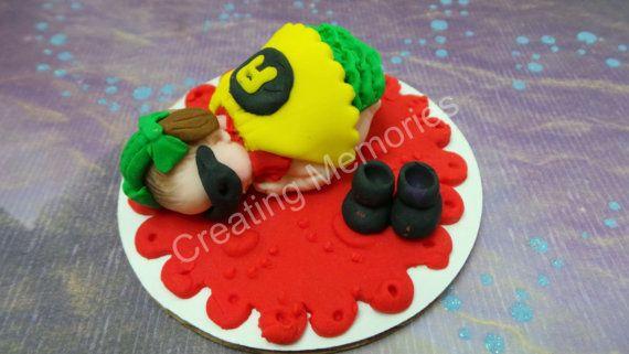 ROBIN Girl. Baby Cake Topper Made of Vanilla Fondant by anafeke