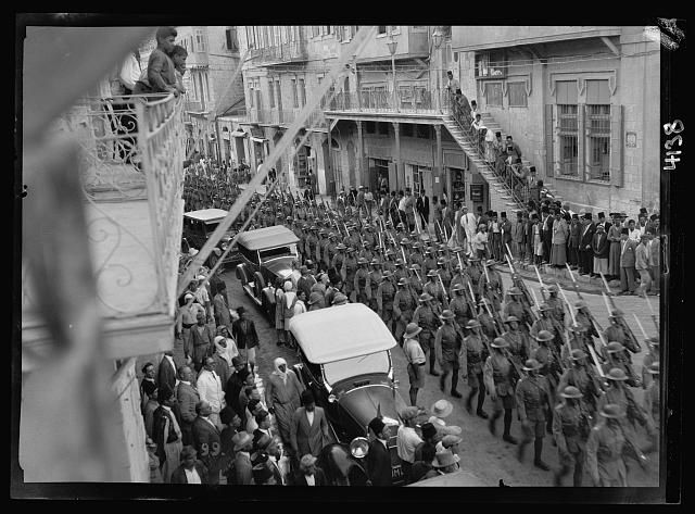 Palestine events. The 1929 riots, August 23 to 31. Display of military force in Jerusalem. Troops in full kit marching through the streets