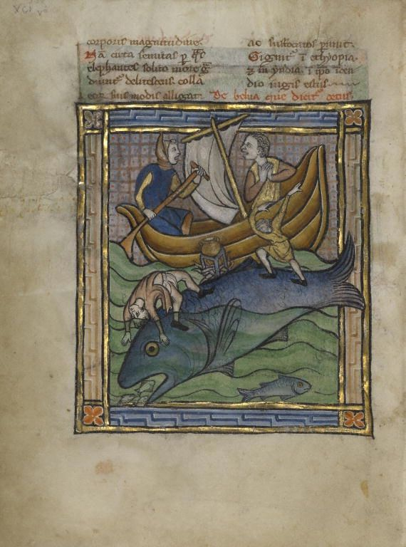 Unknown (illuminator) , Two Fishermen on an Aspidochelone, Franco-Flemish, about 1270, Tempera colors, gold leaf, and ink on parchment,