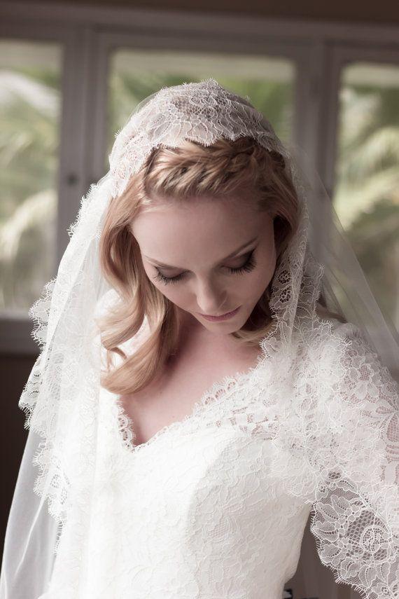 Chantilly Lace Juliet Bridal Cap Wedding Veil by veiledbeauty, $319.00