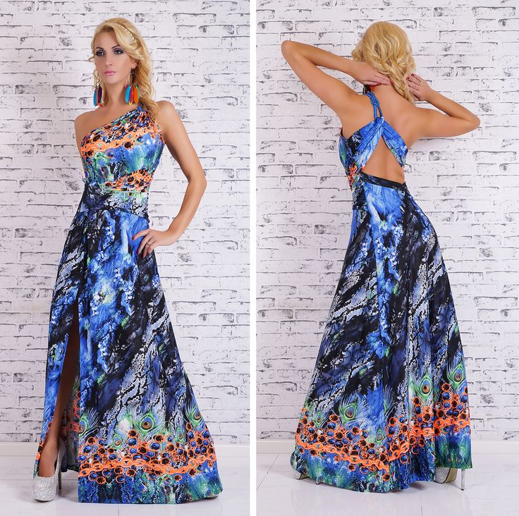 Snake & Chain Print Maxi Dress (blue)