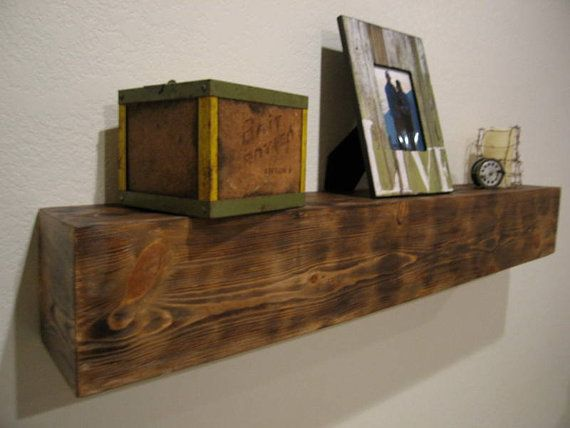 Reclaimed Mantel Style Shelf in Stained Rustic Natural Finish- Durango on Etsy, $189.00