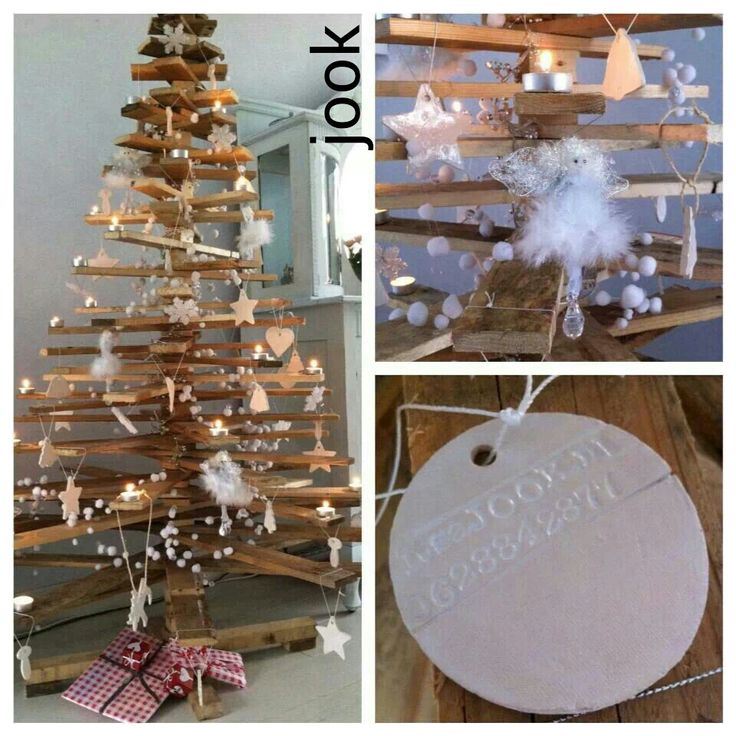 Houten kerstboom en keramische versiering van JOOK
