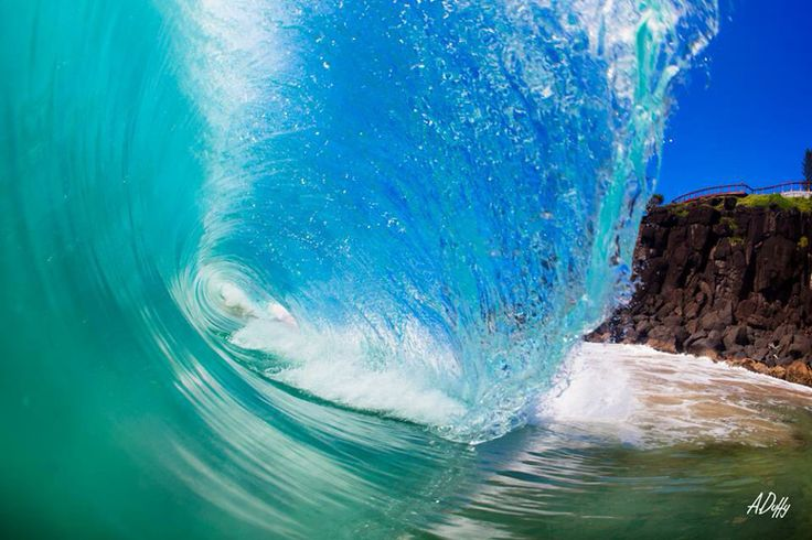 Wave breaking with beautiful clear water