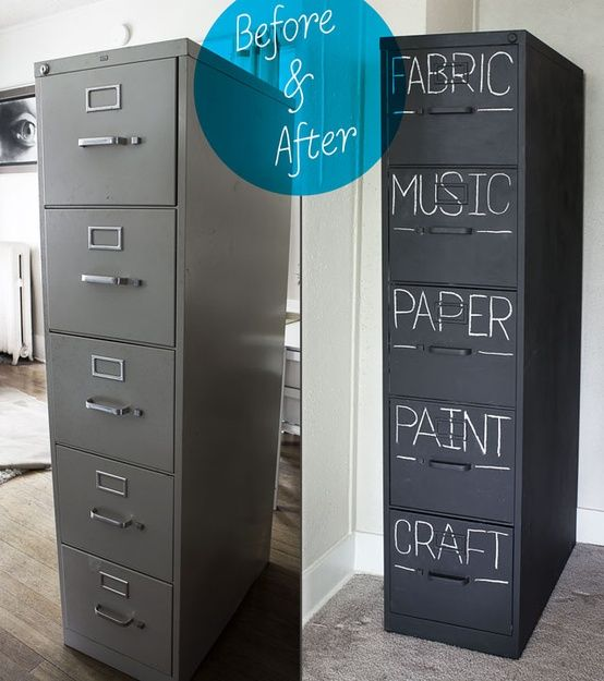 Chalkboard paint an old filing cabinet. (image only)