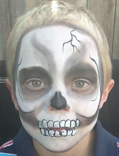 Trucco del viso per Carnevale per bambini da teschio