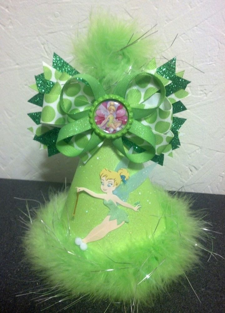 Tinkerbell party hat with removable hair bow. Tinkerbell party supplies