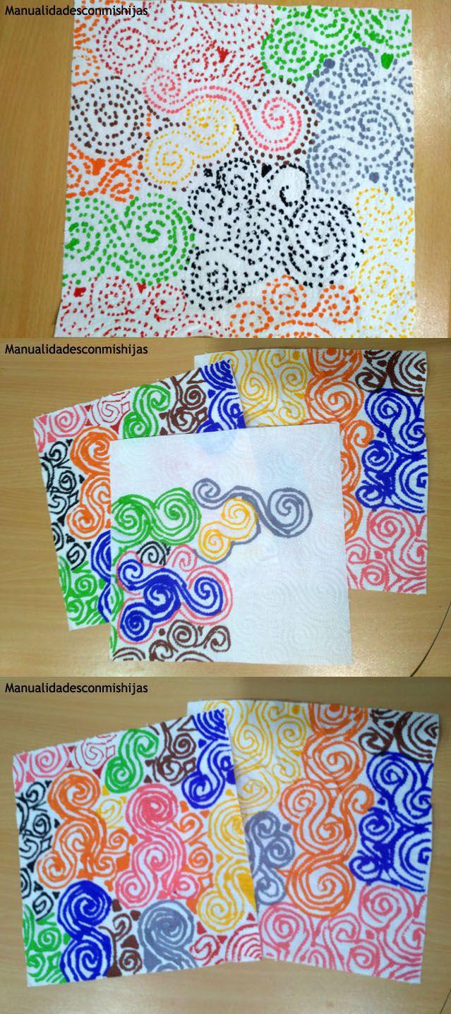 Dibujo en papel de cocina con rotuladores