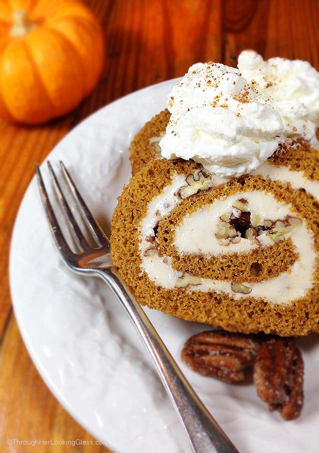 Sugared Pecan Maple Pumpkin Roll. Love maple syrup? You'll love this ultimate fall dessert. Creamy maple filling, sugared pecans & spiced pumpkin roll. Wow.