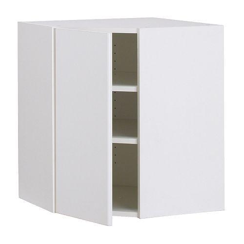AKURUM Corner wall cabinet - birch effect, Härlig white, 25x30  (use for TV Cabinet in bedroom)
