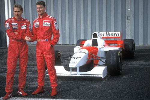 David Coulthard with Mika McLaren 1996 s