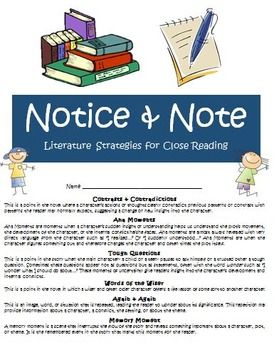 Notice and Note FREE Bundle of Teacher and Student Resources