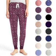 Углубление необходимые ультра-удобные трикотажные брюки пижамные Drawstring домашние брюки г-жа одноцветный полосатые цветы