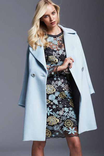 NEW ARRIVALS | MOSS & SPY 2016 Winter Collection.   The ICE COAT is a double-breasted luxe overcoat in soft ice blue. This coat features long sleeves and fully lined. It's crafted from warm wool-cashmere blend and lined in satin.  The TINKERBELL DRESS is a modern, feminine and eye-catching dress. Featuring luxe embroidered flowers on mesh with scalloped edged sleeves and hem.  Available NOW at ASPIRATIONS. #mossandspy