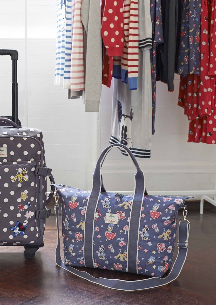 Minnie Little Patches Foldaway Overnight Bag and Buttons Spot Patches Cabin Bag Wheeled Suitcase.  #DisneyXCathKidston