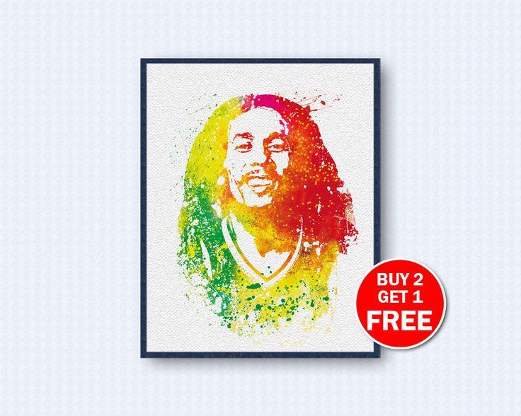 Bob Marley Poster, Bob Marley Watercolor, Bob Marley Music, Reggae Poster, Music Poster, Watercolor Art, Wall Decor, Home Decor by TheWoodenKat on Etsy