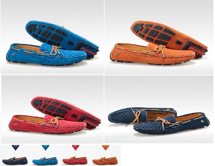 Men Fashion 2015 New Italian Designer Moccasin Genuine Leather Flat shoes Blue