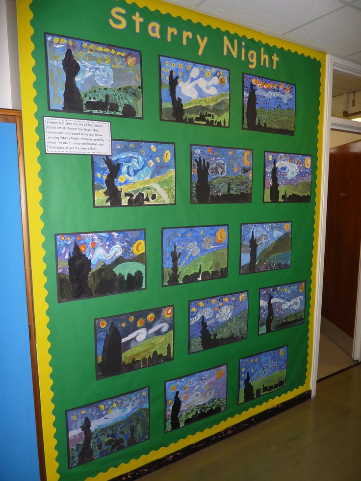 Starry Night Vincent Van Gogh artwork display. Made using paint and short brush strokes.