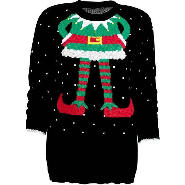 Boohoo Lauren Elf Christmas Jumper | Boohoo ($26) ❤ liked on Polyvore featuring tops, sweaters, xmas sweaters and christmas sweaters