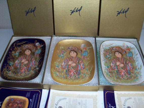 Edna Hibel Prima Arte Ovale Takara Rare Complete Three Piece Set