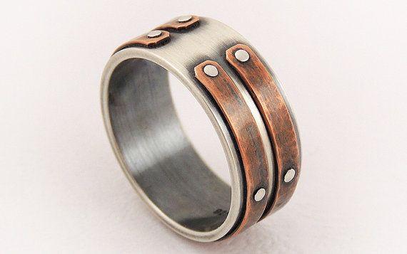 Anillo de plata cobre hombres único - anillo de compromiso de los hombres, los hombres único anillo, anillo rústico de los hombres, anillo de boda