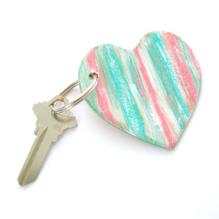 Heart Key Ring, Leather Key Fob, Gifts Under 20, Hand Painted Leather, Preppy Keychain, Rustic Heart, Gift for Women, Green and Pink Key Fob by AnchorRoad on Etsy https://www.etsy.com/listing/533063414/heart-key-ring-leather-key-fob-gifts