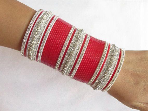Bridal wedding chura bangles set/rhinestones red by Beauteshoppe